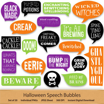 Halloween Bubble Stickers Digital Speech Bubbles Fun Halloween Clipart Callouts Planner Labels Tags Witches Ghosts Printable Clip Art Scary