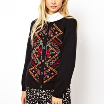 ASOS Cardigan In Vintage Look Jacquard