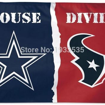NFL Dallas Cowboys vs. Houston Texans House Divided Flag Deluxe, 3 x 5-Foot