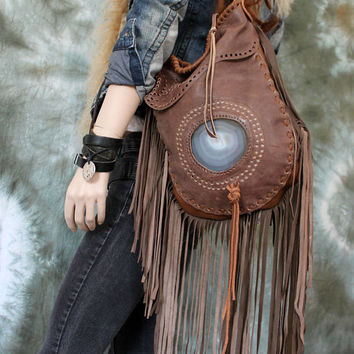 Taupe milky brown moroccan leather fringe long fringes bohemian boho unique bag with agate stone  hippie hippy gypsy southwestern western