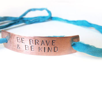 hand stamped copper bracelet, aqua teal wrap bracelet, id bracelet,  be brave be kind, inspirational quote, mantra
