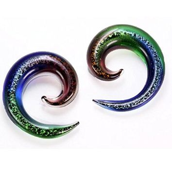 BodyJ4You 2PC Glass Ear Tapers Plugs 4G-12mm Blue Dichroic Glitter Gauges Piercing Jewelry Set