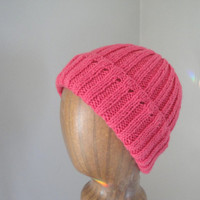 Women's Knit Beanie Hat, Watch Cap Style, Bright Pink Wool Blend, Tween Teen Girls Warm Cap