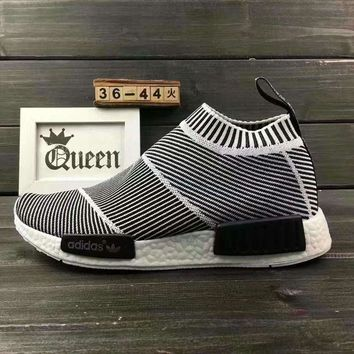 CREYGE2 Beauty Ticks Women Adidas Nmd Boost Casual Nmd Sports Shoes Black White Stripe