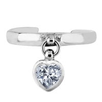 Sterling Silver Rhodium Plated Dangling Heart Shape CZ Cuff Style Adjustable Toe Ring