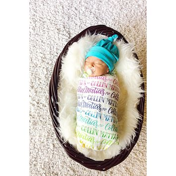 Rainbow Baby- Personalized Swaddle - Rainbow color - Birth announcement