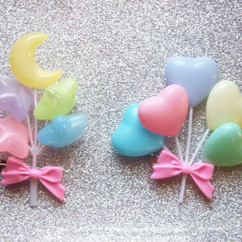 Pastel Rainbow Hair Clip - Your choice of Hearts or Moon and Stars