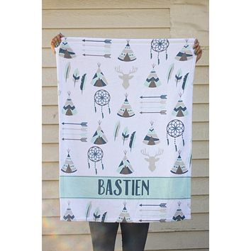 Fleece Blanket - Custom name southwest blue and mint
