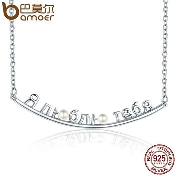 Genuine 925 Sterling Silver Russian Letter I Love You Smile Pendant Necklaces for Women Necklace Jewelry Bijoux SCN085