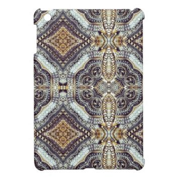 girly bling vintage grey Gold Exotic Medallion pattern ipad mini case