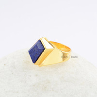 Handmade Lapis Ring-Rectangle 12x8x6 mm-New Design-Gold Plated-925Sterling Silver Ring-Gift for Women