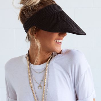 Hilo Honey Straw Messy Bun Visor - Black