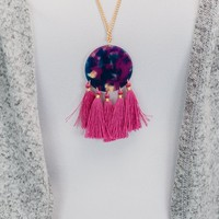 Stained Circle & Tassel Necklace - Pink