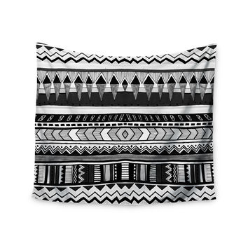 "Vasare Nar ""Tribal Black And White"" Geometric Gray Wall Tapestry"