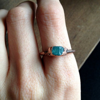 Blue Apatite Ring - Tiny Ring - Unique Ring - Raw Stone Ring - Copper Ring - Semiprecious Stone Ring - Stacking Ring - SIZE 7.5