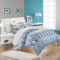 Selina White & Blue Queen 7 Piece Duvet Cover Bed In A Bag Set with Sheet Set