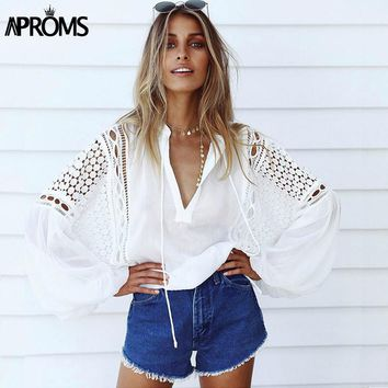 Aproms White Lace Crochet Blouse 2017 Women's Lantern Sleeve Hollow Out Sheer Chiffon Shirt Cool Girls Casual Tunic Tops Blusas