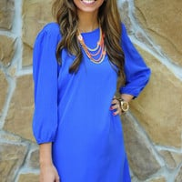 Try Not To Smile Dress: Sapphire Blue | Hope's