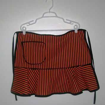 12-1005 Handmade Black and Orange Stripe Halloween Apron / Halloween Apron / Half Apron / Striped Apron