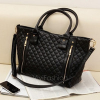 Black Retro Women Office Lady Quilted Shoulder Tote Bag Handbag Fashion VVF [8403745607]