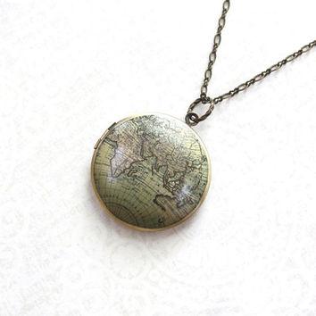 World Map Locket Necklace Around the World Traveler's Jewelry Europe Asia Africa Globe Necklace Photo Locket Round Earth Pendant