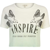 White Inspire print ombre cropped t-shirt - crop t-shirts - t shirts / tanks / sweats - women