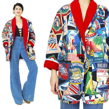 Vintage 80s Novelty Print Coat Flapper Printed Winter Coat Suede Leather Collar Car Coat Multi Color Womens Red Coat World Map Travel (S/M)