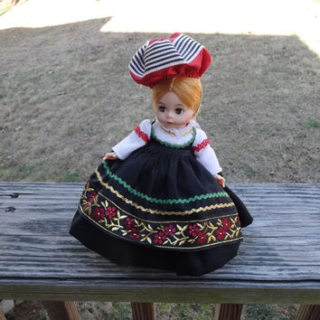 1970s Vintage Madame Alexander Kins 8 Inch Finland International Doll, Bend Knee, Black Dress, Gold & Red Braid, Pantelettes, Vintage Doll