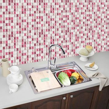 3D Mosaic Tile Stickers For Kitchen Bathroom Self Adhesive PET+PU DIY Home Decor Wallpapers Waterproof Brick DecalFree Shipping