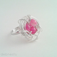 Bird Nest Ring, Pink Striate Agate Beads in Silver Plated Wire Nest, Adjustable Band