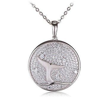 Sterling Silver Pave Cubic Zirconia Whale Tail in Circle Pendant(Chain Sold Separately)