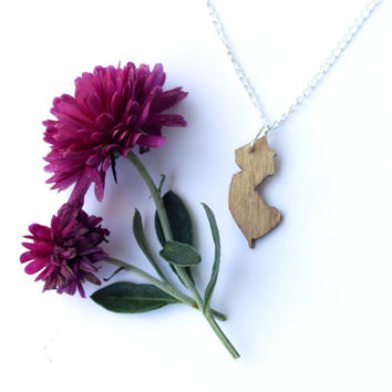 New Jersey Laser Cut Customized Wooden Necklace