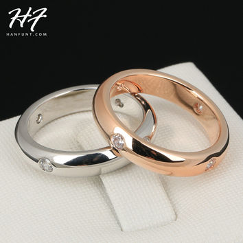 Simple CZ Lover's Ring Rose Gold Color Burnish 4 Pieces Rhinestone Flush Setting Wedding Band for Women R241 R242