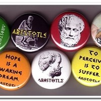 ARISTOTLE buttons pins badges philosophy greek plato by pinstop