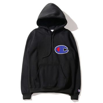 Autumn and winter tide brand new champion large C embroidery cotton pullovers loose fleece men and women hooded sweater coat Black
