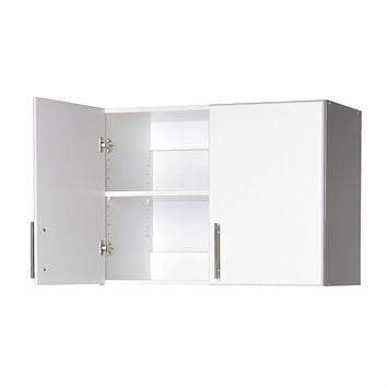 White Wall Cabinet with 2 Doors & Adjustable Shelf