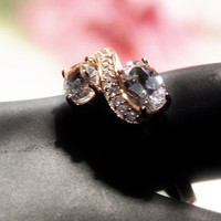 Vintage Morganite Ring with Diamond Accents Ring Morganite Vermeil Rose Gold Engagement Cocktail Ring Estate Heirloom Jewelry 1 Ctw Size 5