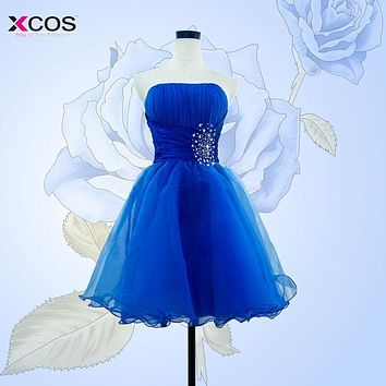 Women Sexy Blue Cocktail Dresses 2016 Strapless Beaded robe de cocktail A line Lace Up Short Party Dress
