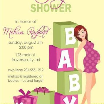 Girl Blocks Baby Shower Invitations
