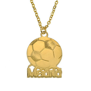 Name Necklace Soccer Football 18k Yellow Gold Plated Plating On Brass Sport Personalized Message Pendant Customized Custom Made On ANY NAME