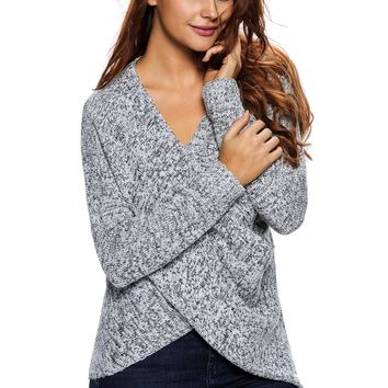 Chicloth Long Sleeve Chunky Cross Wrap V Neck Tunic Pullover Sweater