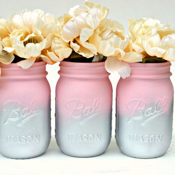 Pink Mason Jars, Mason Jars Bulk, Baby Shower Decor, Nursery Decor, Painted Mason Jars, Mason Jar Decor, Jar Centerpiece, Silver Mason Jars
