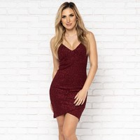 Let's Dance Sparkle Bodycon Dress in Wine