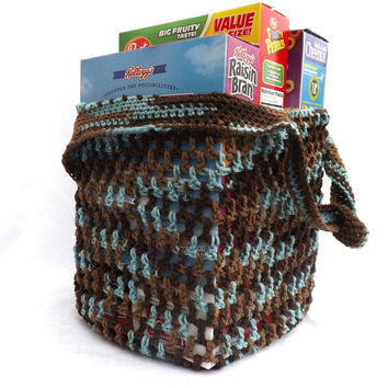 Reusable Grocery Bag  - Brown and Turquoise Farmer's Market Tote - Beach Bag - Dance Bag - Activity Bag - Daycare Bag - Laundry Bag