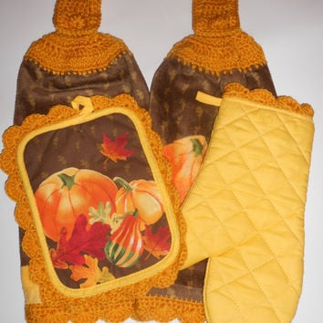 Crochet Kitchen Towel Set -Autumn kitchen set w/crochet trim....two hanging towels, pot holder and oven mitt...