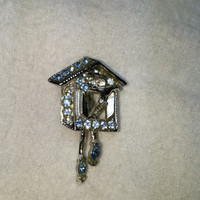 Movable Bird in Bird House with Blue Rhinestone Silver Tone Brooch / Pin