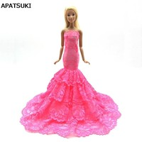 Pink Lace Doll Dress Costume Elegant Lady Fishtail Dress For Barbie Doll Clothes For 1/6 BJD Mermaid Dresses Gift Toy