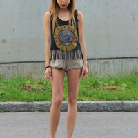 Guns And Roses Print Top With Tassel