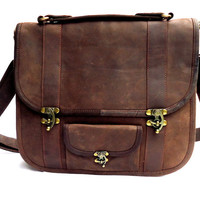 Leather Laptop bag Messenger Bag 13 inch Macbook Bag Satchel Bag in Brown-MB21a