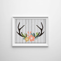 Deer Antler Shabby Chic Art Print. Wood Texture. Floral Decor. Flower Print. Rustic Wall Art. Modern Home Decor. Animal Print. Chic Art.